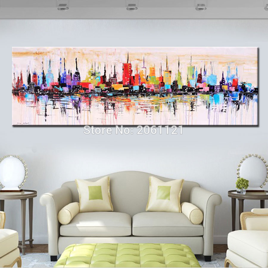 Long Canvas Paintings, Long Painting For Living Room