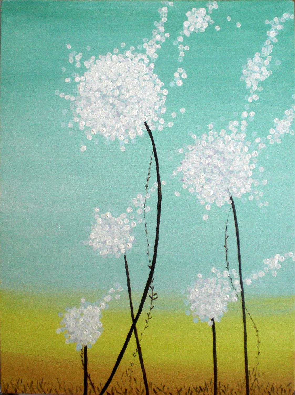 Blue Flower Painting Acrylic