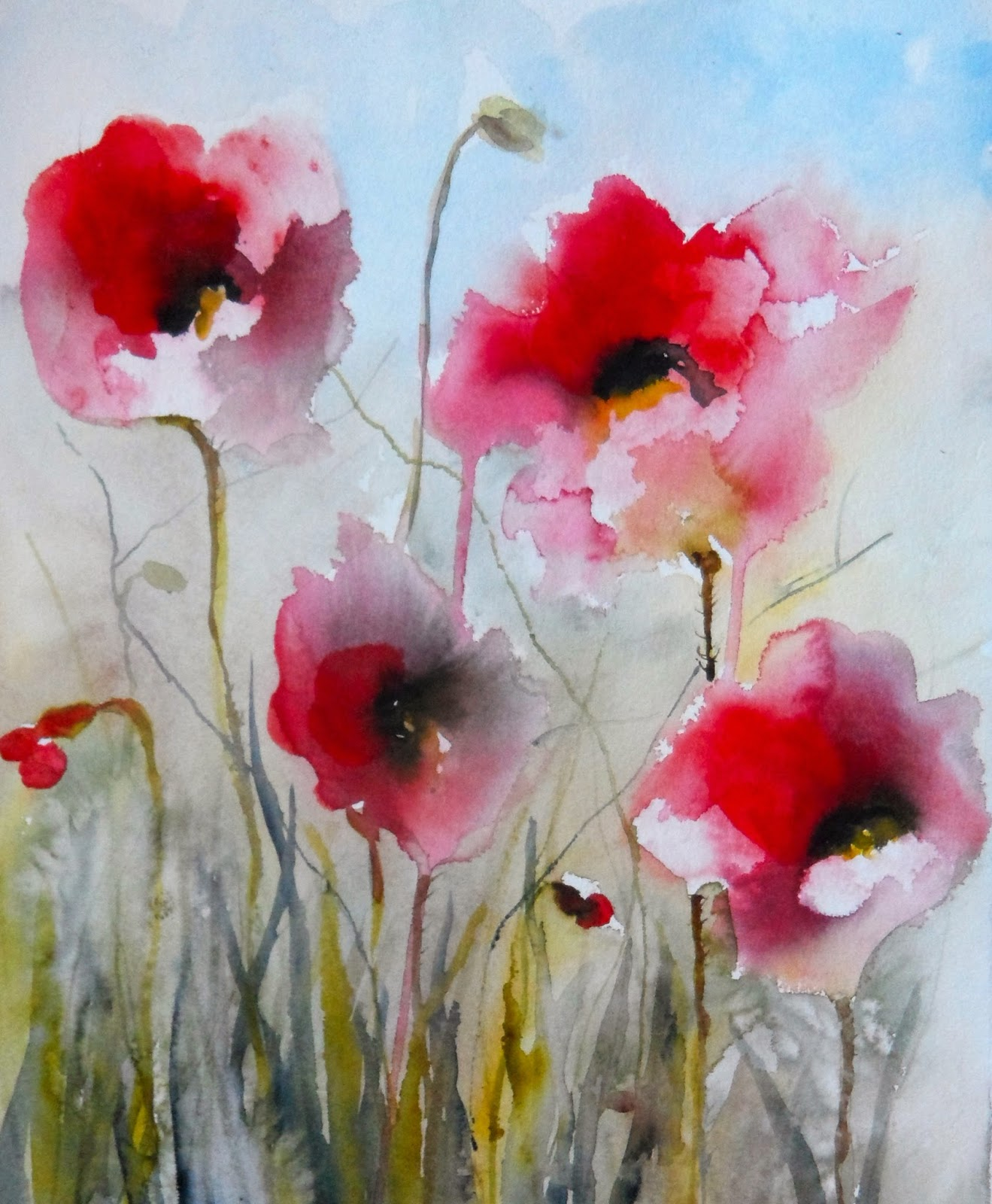 Items similar to Watercolor Painting Poppy Red Poppies ... |Watercolor Poppies Pink