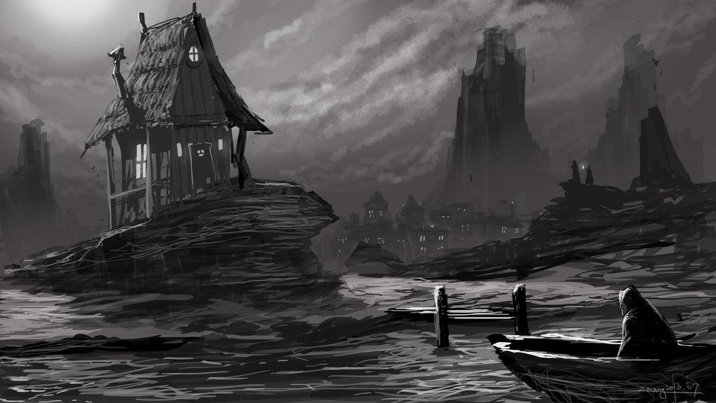 Video Game Landscape Concept Art Sketch