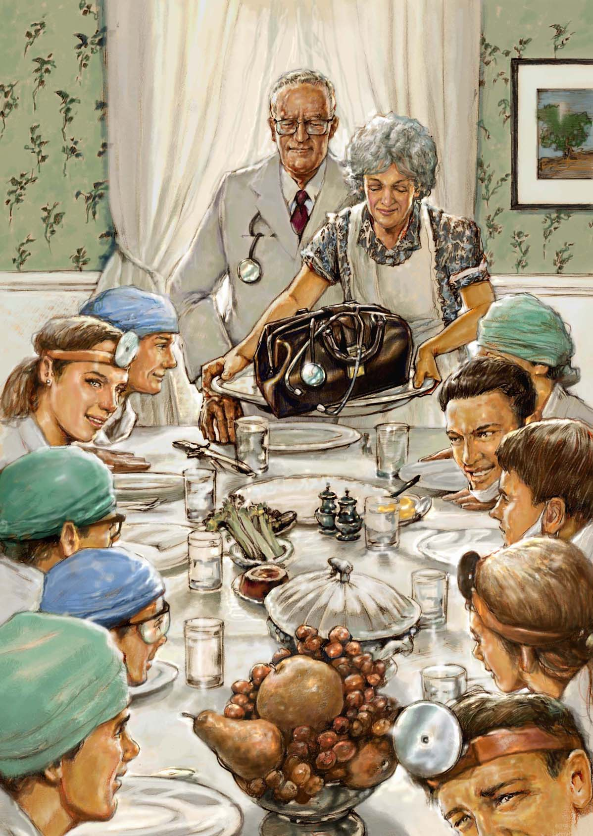 Thanksgiving Family Dinner Painting | www.topsimages.com