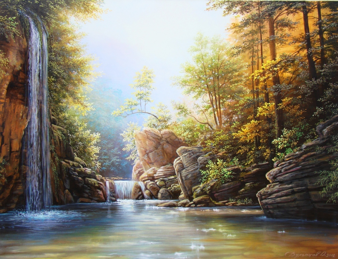 waterfall paintings painting oil oleg nature famous print realistic landscape artist artwork artworks river ists related painter