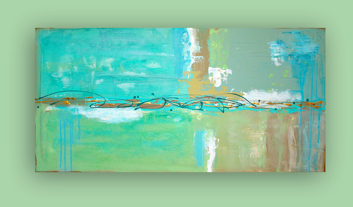 Abstract Beach Painting Original Gl