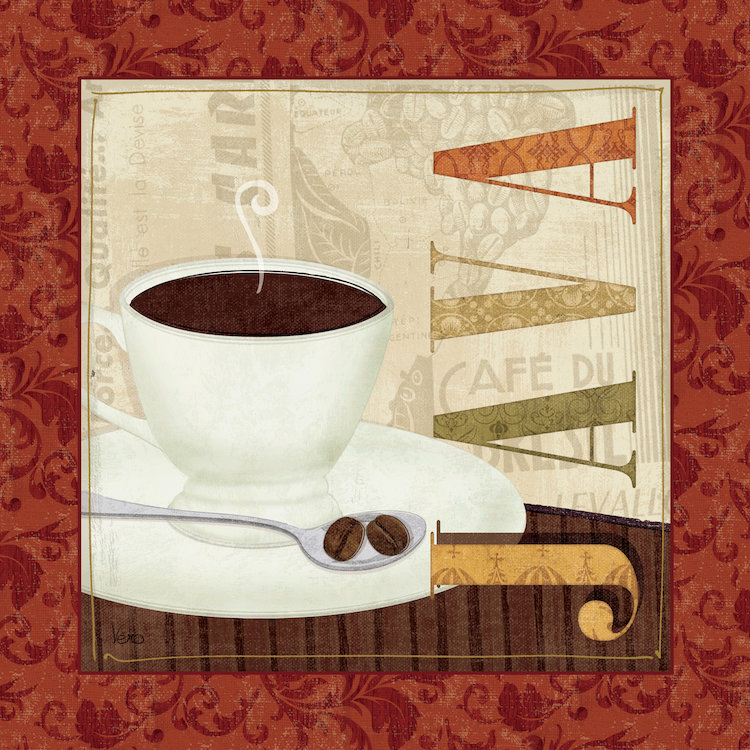 Set Of 3 Coffee Cup Canvas Wraps: Coffee Canvas Paintings