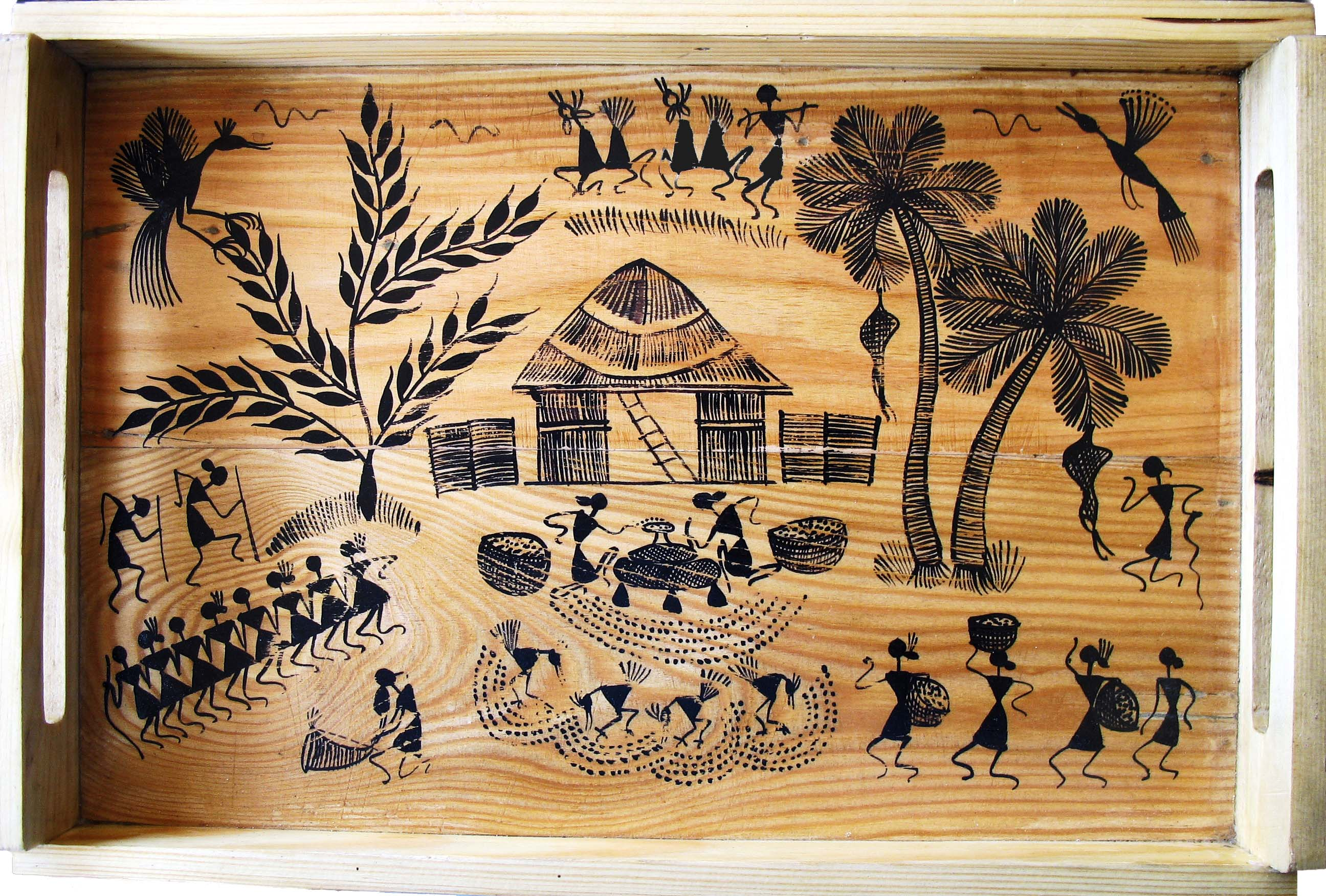 Painted wooden Tray with Warli design in black on a brown background