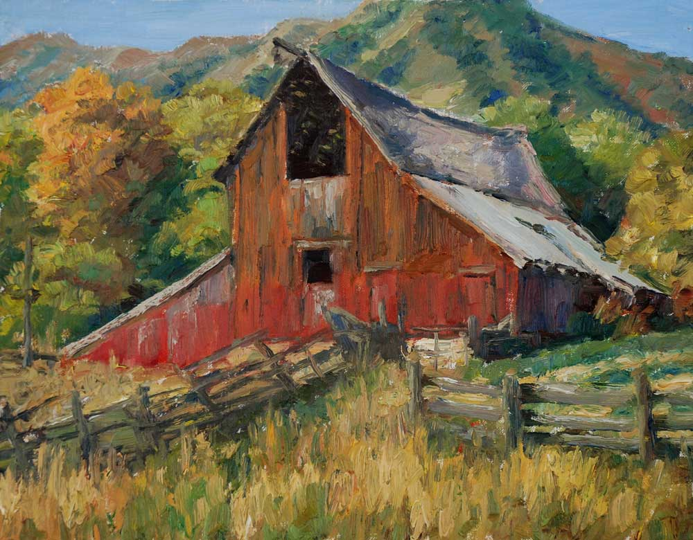 Old barn paintings for Watercolor barn paintings