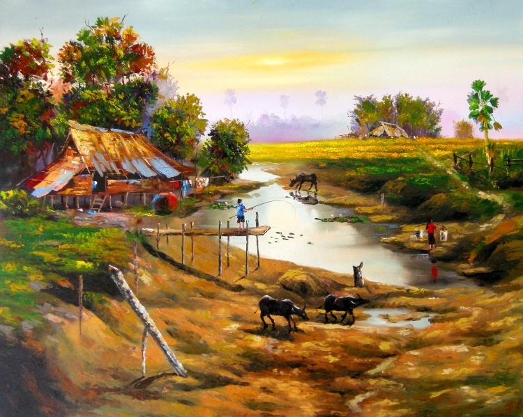 Village Landscape paintings